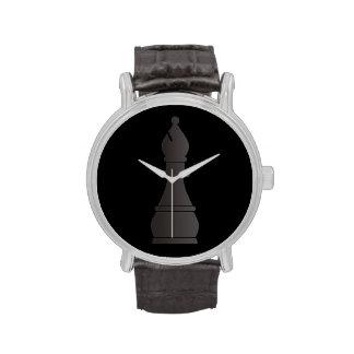Pedazo de ajedrez negro del obispo reloj