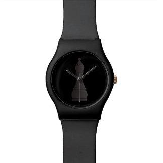 Pedazo de ajedrez negro del obispo relojes de pulsera