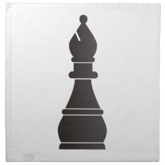Pedazo de ajedrez negro del obispo servilleta imprimida