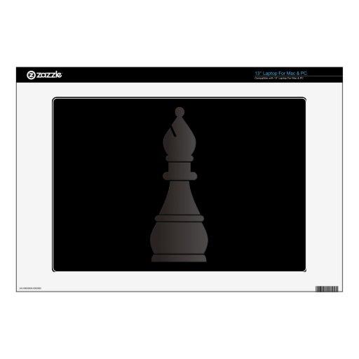 Pedazo de ajedrez negro del obispo skins para portátil
