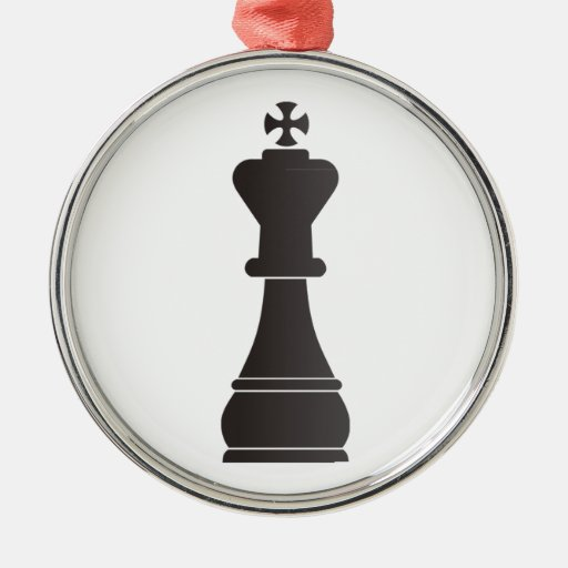 Pedazo de ajedrez negro del rey adorno redondo plateado