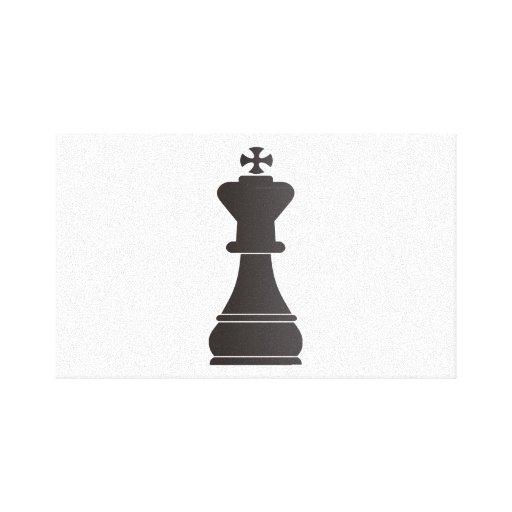 Pedazo de ajedrez negro del rey lona estirada galerias