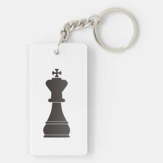 Pedazo de ajedrez negro del rey llavero