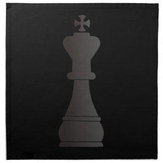Pedazo de ajedrez negro del rey servilleta imprimida