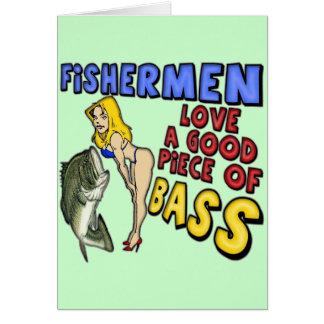 Pedazo de camisetas y de regalos de la pesca de la tarjeta de felicitación