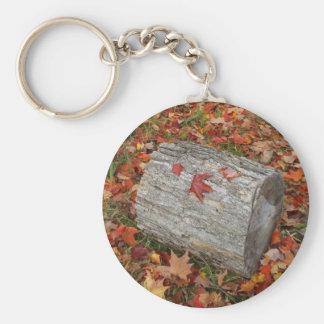Pedazo de madera en hojas de la caída llavero redondo tipo pin
