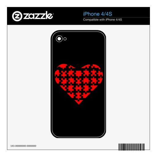 Pedazo de mi rompecabezas del corazón skins para eliPhone 4