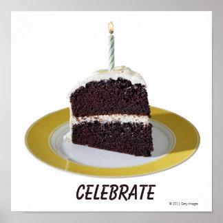 Pedazo de torta de cumpleaños impresiones