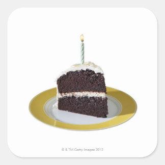 Pedazo de torta de cumpleaños pegatina cuadradas