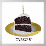Pedazo de torta de cumpleaños póster