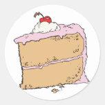 pedazo de torta delicioso etiquetas redondas