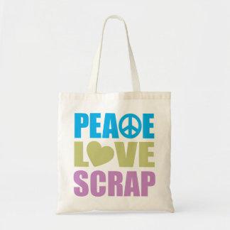 Pedazo del amor de la paz bolsa tela barata