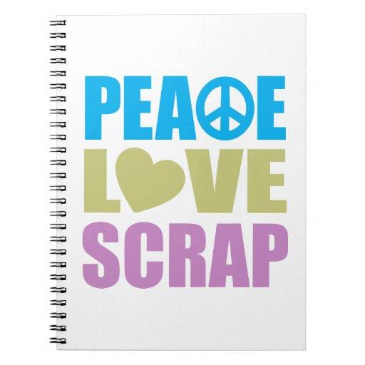 Pedazo del amor de la paz spiral notebooks