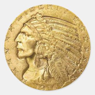Pedazo del oro de los E.E.U.U. Pegatina Redonda