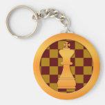 Pedazo del rey ajedrez del oro llavero personalizado