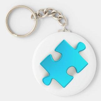 pedazo del rompecabezas 3D azules claros metálico Llavero