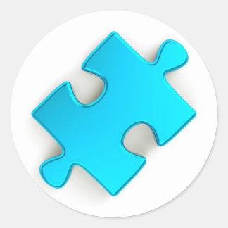 pedazo del rompecabezas 3D (azules claros Pegatina Redonda