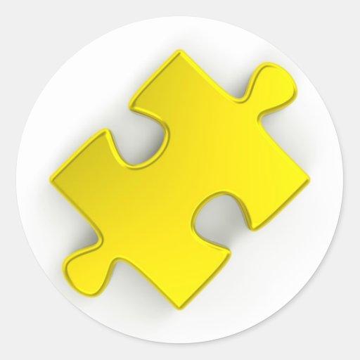 pedazo del rompecabezas 3D (oro metálico) Pegatinas