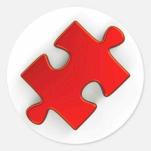 pedazo del rompecabezas 3D (rojo metálico) Pegatina Redonda