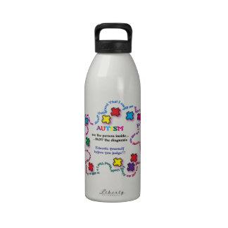 Pedazo del rompecabezas del autismo botella de beber