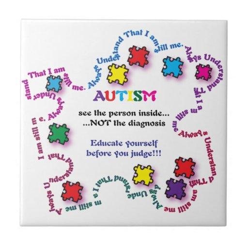 Pedazo del rompecabezas del autismo azulejo cuadrado pequeño