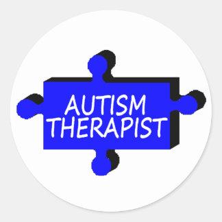 Pedazo del rompecabezas del autismo del terapeuta pegatina redonda