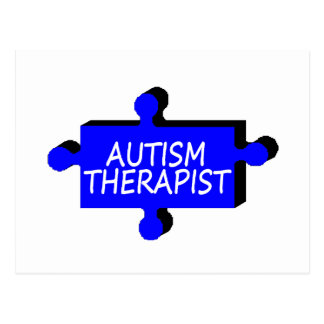 Pedazo del rompecabezas del autismo del terapeuta postal