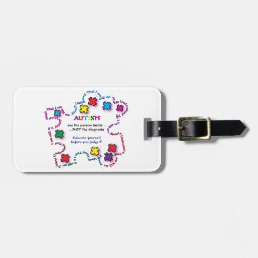 Pedazo del rompecabezas del autismo etiquetas bolsas