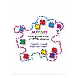 Pedazo del rompecabezas del autismo tarjetas postales