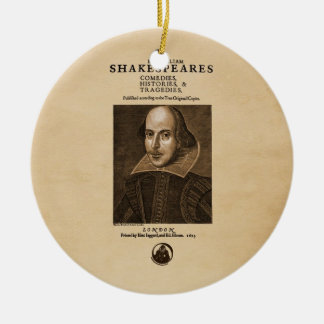 Pedazo delantero al primer folio de Shakespeare Adorno Navideño Redondo De Cerámica