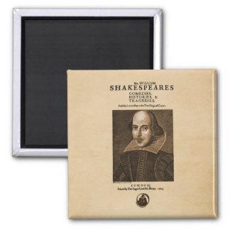 Pedazo delantero al primer folio de Shakespeare Imán Cuadrado