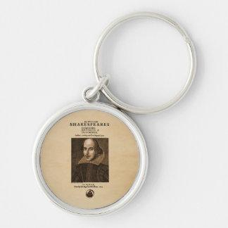 Pedazo delantero al primer folio de Shakespeare Llavero Redondo Plateado