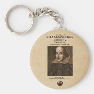 Pedazo delantero al primer folio de Shakespeare Llavero Redondo Tipo Pin