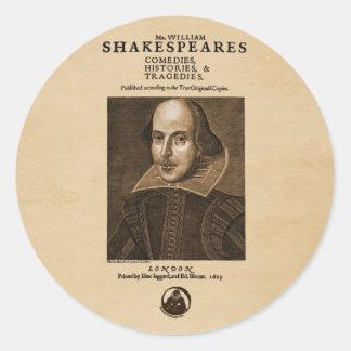 Pedazo delantero al primer folio de Shakespeare Pegatina Redonda