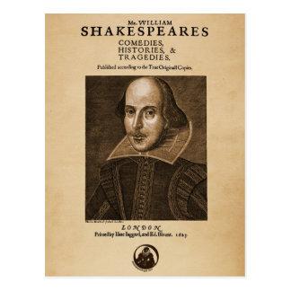 Pedazo delantero al primer folio de Shakespeare Postales