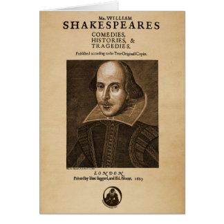 Pedazo delantero al primer folio de Shakespeare Tarjeta De Felicitación