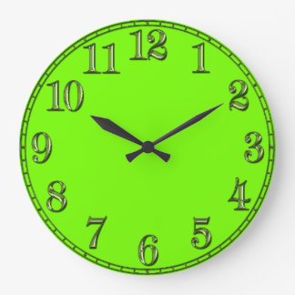 Pedazo retro del tiempo de la verde lima de Fluoro Reloj Redondo Grande