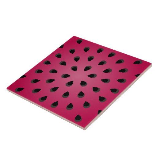 Pedazo rojo de la sandía con las semillas azulejo cuadrado grande