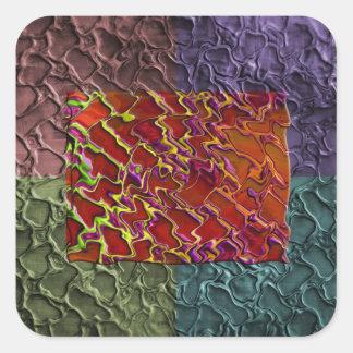 Pedazos abstractos del rectángulo en 5 colores pegatinas