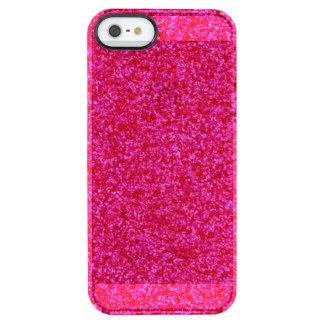 Pedazos brillantes de color rosa oscuro funda clearly™ deflector para iPhone 5 de uncommon