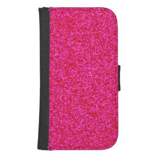 Pedazos brillantes de color rosa oscuro fundas billetera de galaxy s4