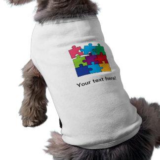 Pedazos coloridos del rompecabezas playera sin mangas para perro