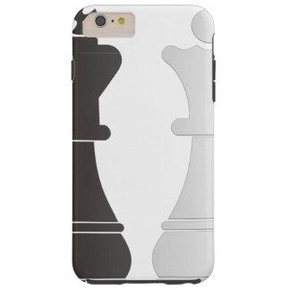 Pedazos de ajedrez blancos de la reina del rey funda para iPhone 6 plus tough