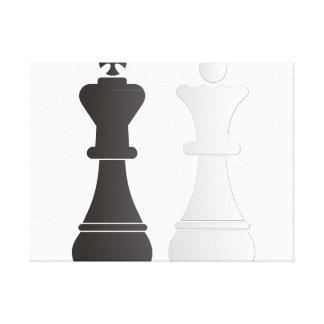 Pedazos de ajedrez blancos de la reina del rey impresión en lona