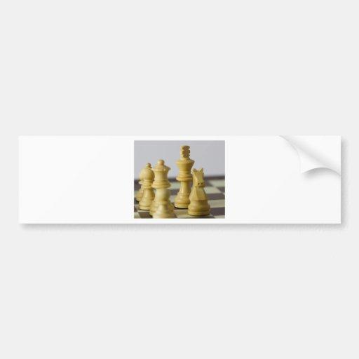 Pedazos de ajedrez blancos pegatina para auto
