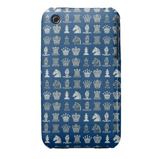 Pedazos de ajedrez en caja azul del iPhone 3G/3GS  Case-Mate iPhone 3 Protectores