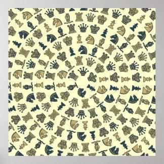 Pedazos de ajedrez en poster de los círculos