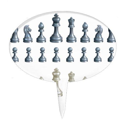 Pedazos de ajedrez fijados decoración para tarta