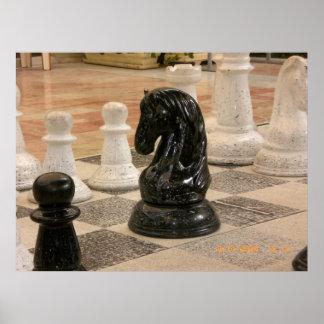 Pedazos de ajedrez gigantes póster