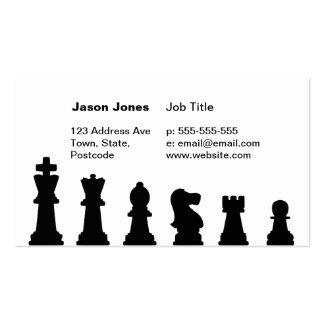 Pedazos de ajedrez negros en blanco tarjetas de visita